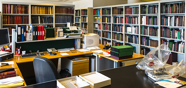 Philatelic office in the British Library. In the foreground in the white and green boxes is the collection of Discworld stamps.